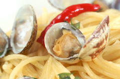 Spaghetti vongole. Pasta with clam Stock Photos
