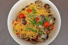 Spaghetti vongole Stock Afbeelding