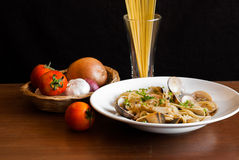 Spaghetti Vongole with Chilli and ingredients Stock Images