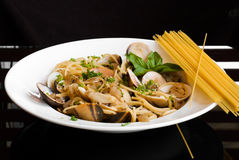 Spaghetti Vongole with Chilli and ingredients Royalty Free Stock Images