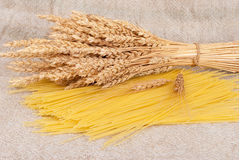 Spaghetti and wheat ears Royalty Free Stock Images