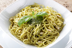 Spaghetti whit Pesto genovese Stock Photo