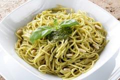 Spaghetti whit Pesto genovese Stock Photo
