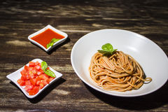 Spaghetti whit pomidorowy kumberland Obraz Stock