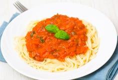Spaghetti whit tomato sauce Stock Photo