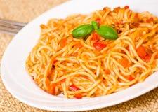 Spaghetti whit tomato sauce Stock Photos