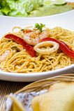 Spaghetti on white plate Royalty Free Stock Photo