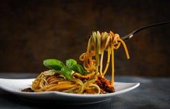 Spaghetti on white plate stock photo