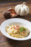 Spaghetti white sauce. Spaghetti white sauce with bacon, cheese and parsley Stock Images