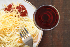 Spaghetti And Wine Stock Photo