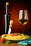 Spaghetti and wine Stock Photography