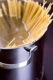 Spaghetti and wine on table Stock Images