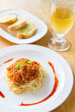 Spaghetti  and wine Royalty Free Stock Photo