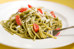 Spaghetti With Basil Pesto And Tomatoes Stock Image
