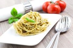 Spaghetti With Fresh Pesto Stock Photography