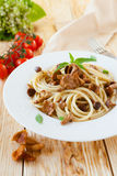 Spaghetti With Fried Chanterelle Mushrooms Royalty Free Stock Photo