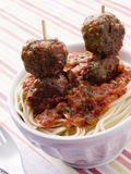 Spaghetti With Meatball Sticks Royalty Free Stock Images
