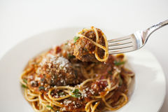 Spaghetti With Meatballs Stock Photo