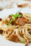 Spaghetti With Mushrooms And Basil Stock Images