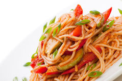 Free Spaghetti With Zucchini And Tomato Stock Photos - 21106783