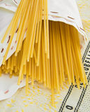 Spaghetti wrapped in napkin. Royalty Free Stock Photography