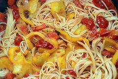 Spaghetti with Yellow peppers Stock Image