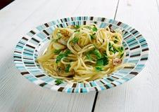 Spaghetti z czosnkiem i olejem Obraz Royalty Free