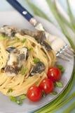 Spaghetti z dzikimi pieczarkami Fotografia Royalty Free