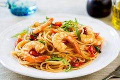 Spaghetti z krewetką i pomidorem Obraz Stock