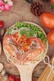 Spaghetti z krewetkowym i pomidorowym kumberlandem wyśmienicie Zdjęcia Stock