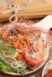 Spaghetti z krewetkowym i pomidorowym kumberlandem wyśmienicie Zdjęcie Royalty Free