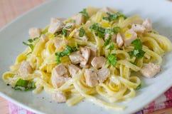 Spaghetti z łososiem i ziele Fotografia Stock