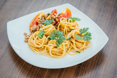 Spaghetti z pomidorowym kumberlandem Obrazy Royalty Free