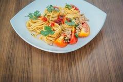 Spaghetti z pomidorowym kumberlandem Fotografia Stock