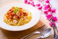 Spaghetti z pomidorowym kumberlandem Obraz Stock