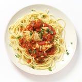 Spaghetti z ryba w arrabbiata kumberlandzie od above Obraz Royalty Free