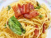 Spaghettibacon Stock Afbeeldingen