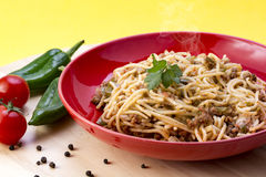 Spaghettibewohner- von bolognesebild Stockbild