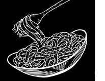 Spaghettigekritzel, Handzeichnung Stockbild