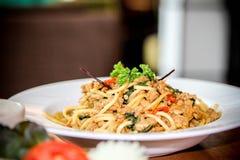 Spaghettihühnerspaghettis würziges Huhn spaketty Stockbilder