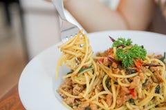 Spaghettihühnerspaghettis würziges Huhn spaketty Lizenzfreie Stockfotografie