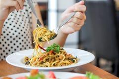 Spaghettihühnerspaghettis würziges Huhn spaketty Lizenzfreie Stockbilder