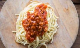 Spaghettiketschup Stockfotografie