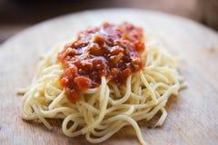 Spaghettiketschup Stockbild