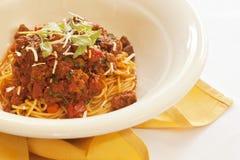 Spaghettini Bolognese (spagetti med köttsås) Arkivfoto