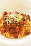 Spaghettini Bolognese (spagetti med köttsås) Royaltyfria Bilder