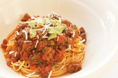 Spaghettini Bolognese (spaghetti con la salsa della carne) Fotografia Stock