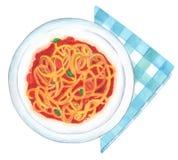Spaghettipomodoro het schilderen vector illustratie