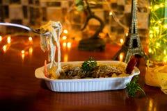 Spaghettipompoen en kippenborst royalty-vrije stock foto