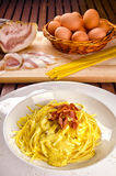 Spaghettis alla carbonara Stockbilder